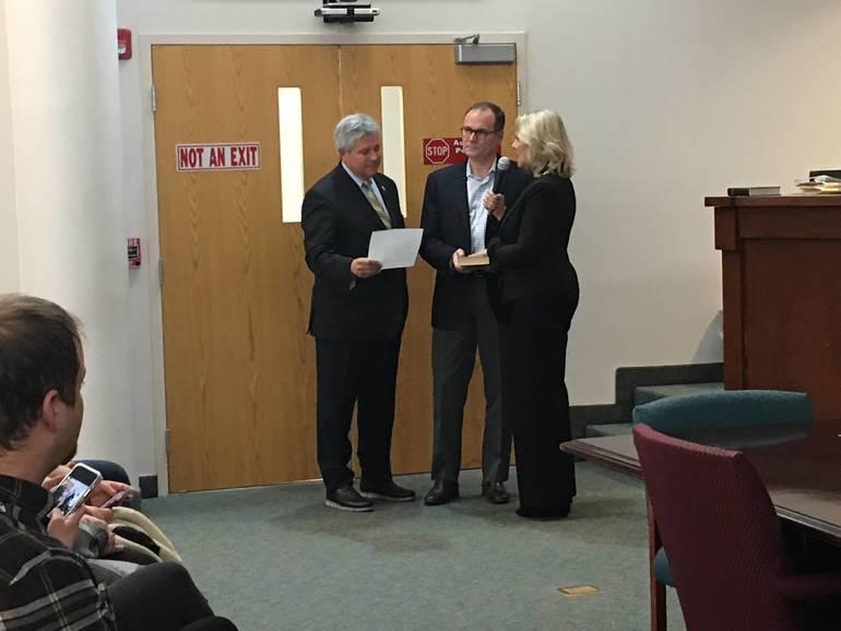 Karen Gilbert is sworn in as deputy mayor.