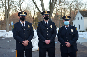 Fanwood's newest Sergeants Gilmore, Chisholm, and Piccola.