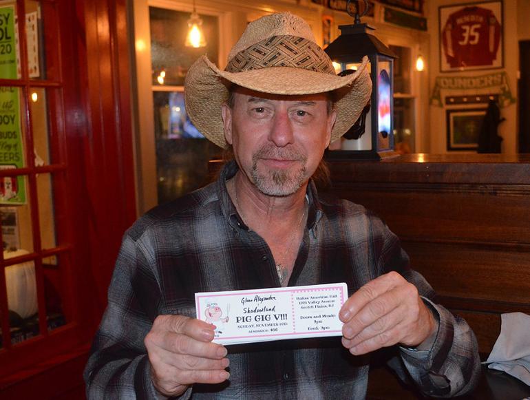 Glenn Alexander with Pig Gig ticket.png