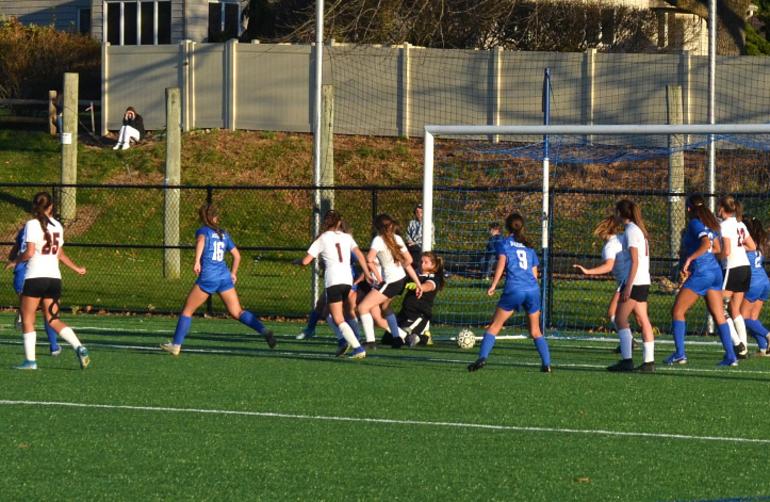 Scotch Plains-Fanwood's Leah Klurman's ball goes across the goal line.