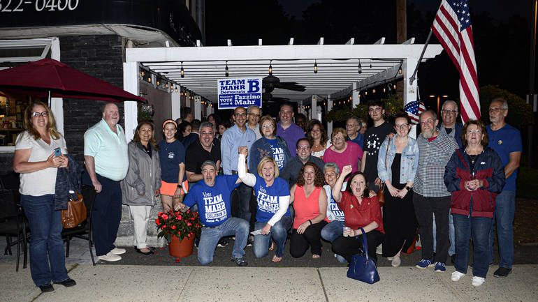 Fanwood Mayor Colleen Mahr celebrates with her running mates and supporters on Tuesday evening.