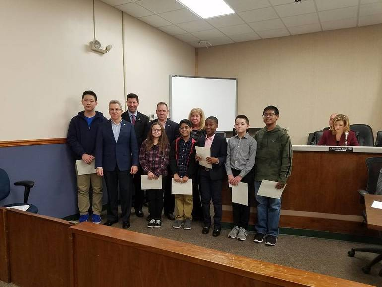 Winners of Essay and Video Contest with Members of  the Green Team