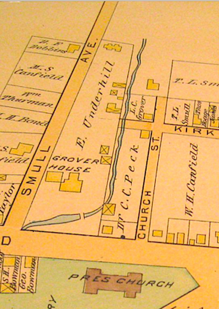 Smull House at upper center of map