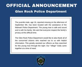 Glen Rock Teen Found Safe