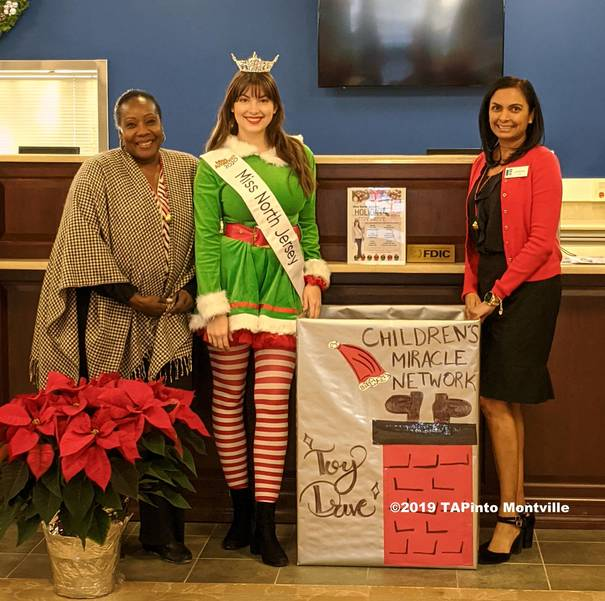 Gwen Hodge, Veronica Tullo and Joanne Lopez conduct a toy drive at Blue Foundry ©2019 TAPinto Montville.jpg