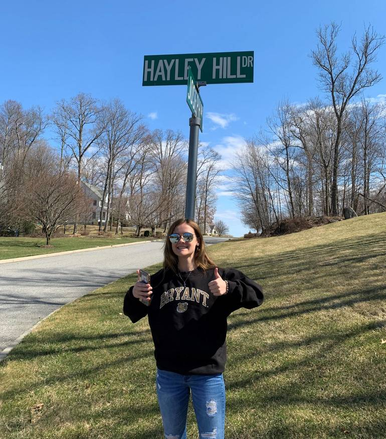 Hailey Pereira found her own name on a street sign for Find a street named after a female.jpg