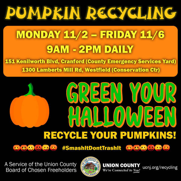 Union County's New #SmashItDontTrashIt Campaign Makes New Green Energy from Old Halloween Pumpkins