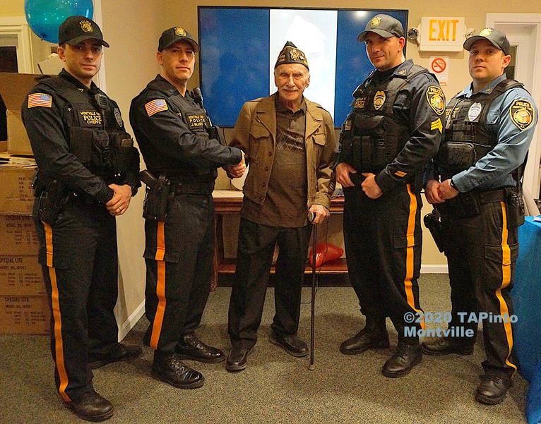 Herbert Terner with MTPD officers at his 98th bd party ©2020 TAPInto Montville.jpg