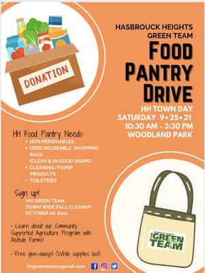 Hasbrouck Heights Green Team food drive town day 2021