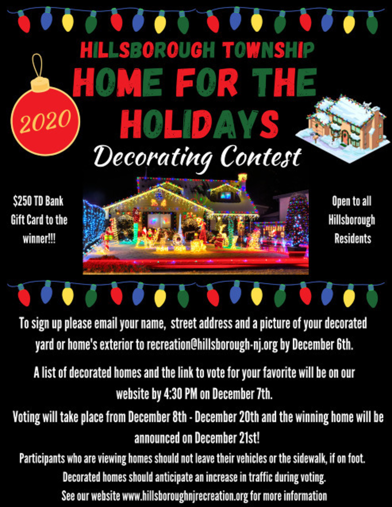 Deadlines for Hillsborough Home Decorating Contest & Letters to Santa