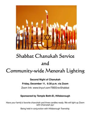 Virtual Shabbat Chanukah Service & Menorah Lighting in Hillsborough