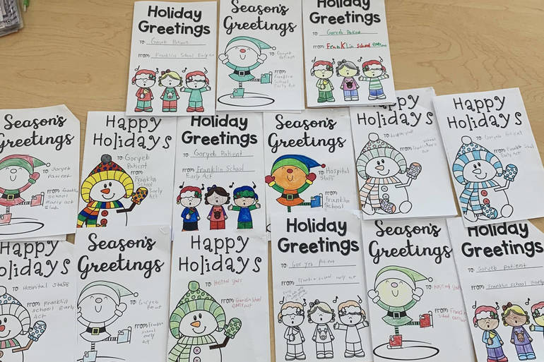 Holiday Cards for Goryeb created by the Franklin Early Act Club