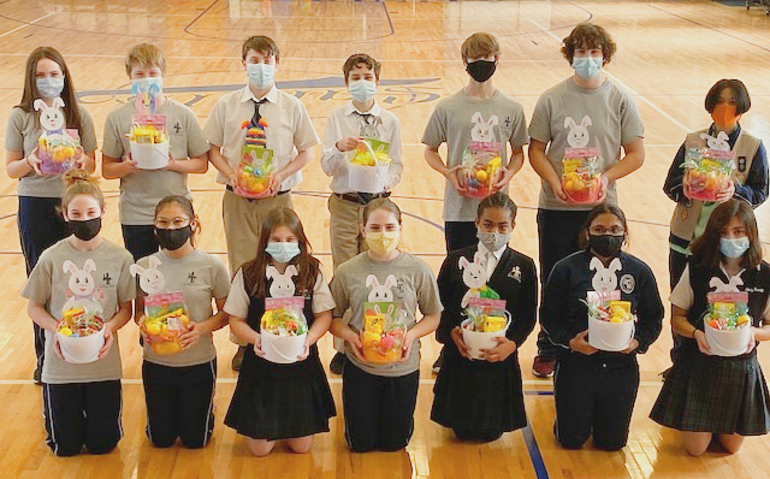 Holy Trinity students made Easter baskets.