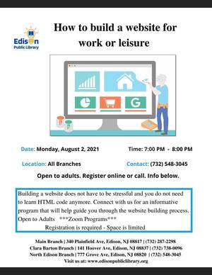 Edison Library Program How to build a website for work or leisure