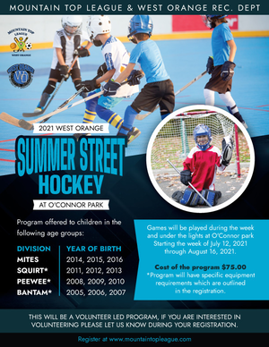 Mountain Top League Partnering with  Recreation Department for Summer Street Hockey Program