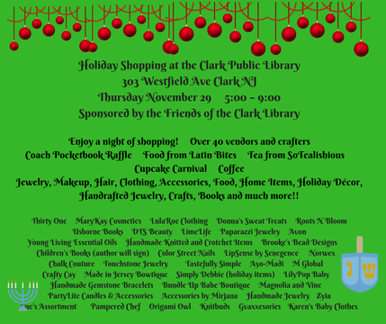 Top story 150ec89c5bce0d66d518 holiday shopping at the clark public library303 westfield ave clark njthursday november 29 5 00   9 00sponsored by the friends of the clark library 2