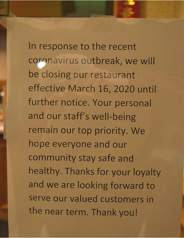 Note on the window of Hung's Shanghai Restaurant in downtown Scotch Plains.