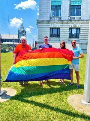 Dem Chair Leads Pride Flag Raisings Across Hudson County
