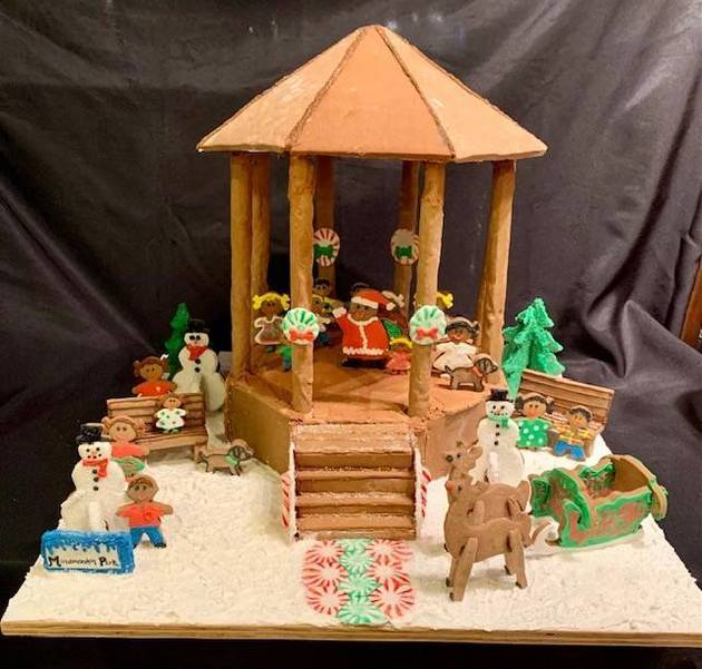 The bandstand at Mindowaskin Park is seen rendered in Gingerbread.