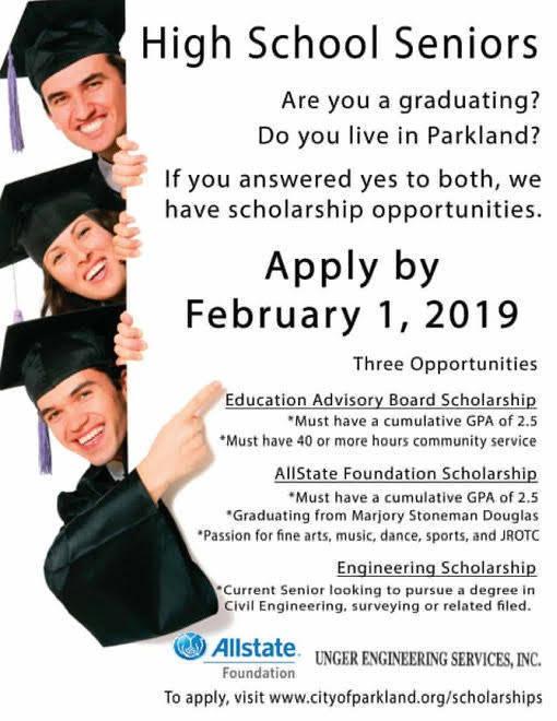 Scholarship Opportunities for Graduating Parkland Seniors