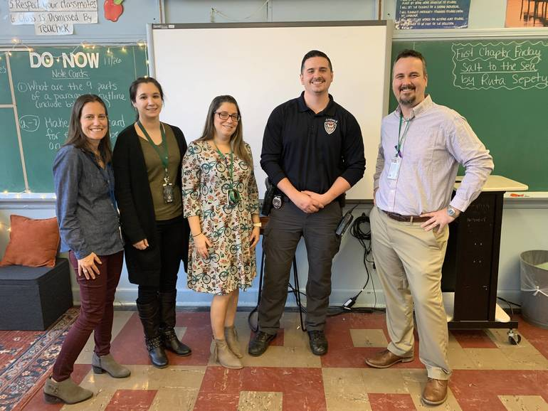 SRO Zach Melanson with NJHS Co-Advisors Dara Sesser and Anna Kousoulis with Peer Leadership Co-Advisors Michele Rodriguez and Nicholas Deremiah