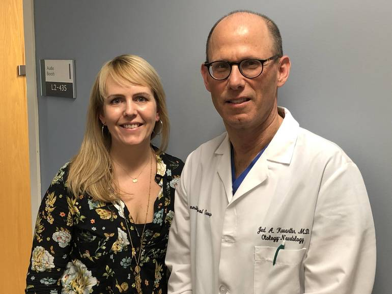 Joan Rekemeir of Fanwood and Dr. Jed Kwartler, Director of Otology/Neurotology, Summit Medical Group