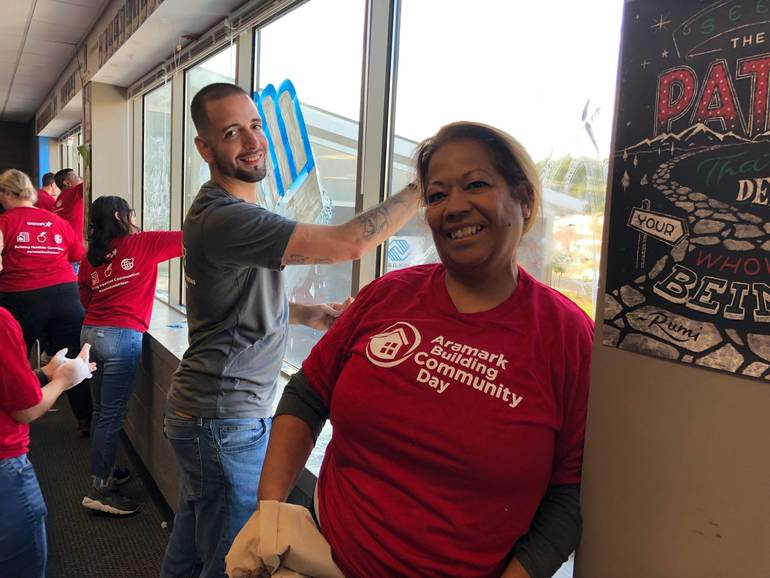 District, Aramark Volunteers Brighten Up East Camden After-School Space