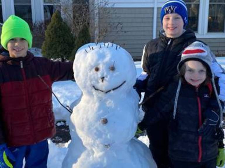 two-sided snowman at Center for Hope in Scotch Plains.