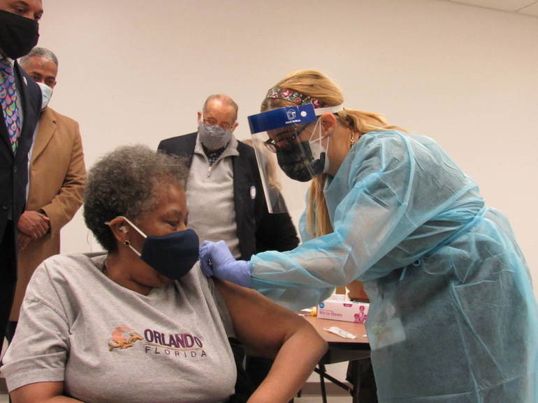 Applause and Relief as Seniors Are Immunized for Coronavirus at Camden Church
