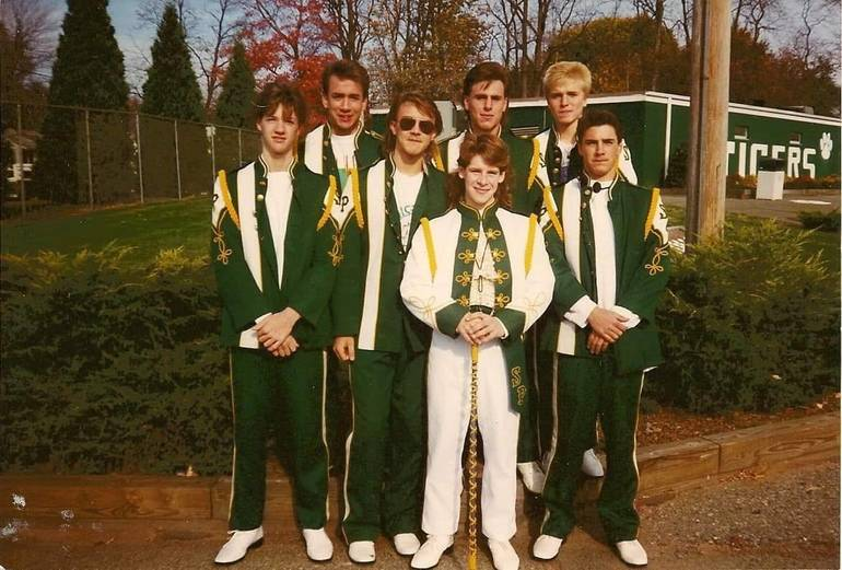 Fall 1991 Marching Band Home Show - (L-R back) Rob Rybeck, Lou Takacs, Dave Nissel (Front) Eric Seiz, Fred Kendzierski, Eric Witkowski, Any Kipila