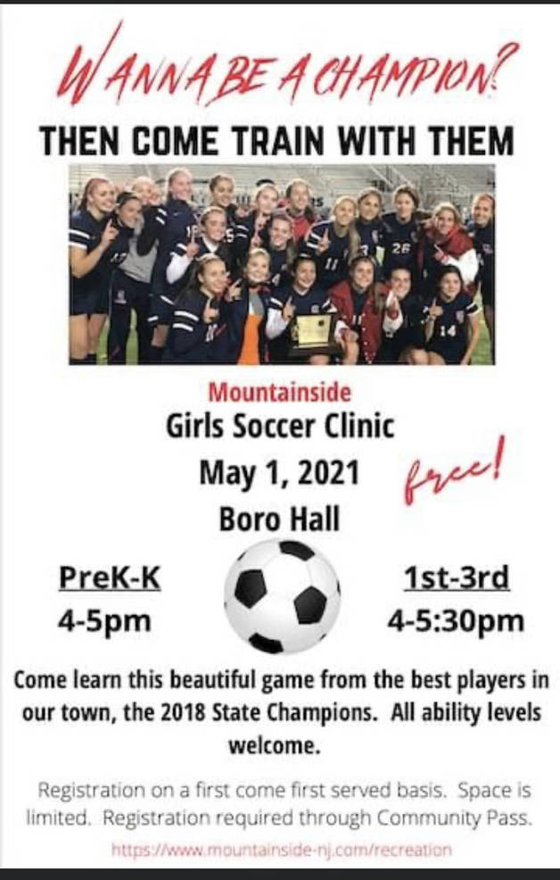 Girls Soccer Free Clinic in Mountainside, May 1