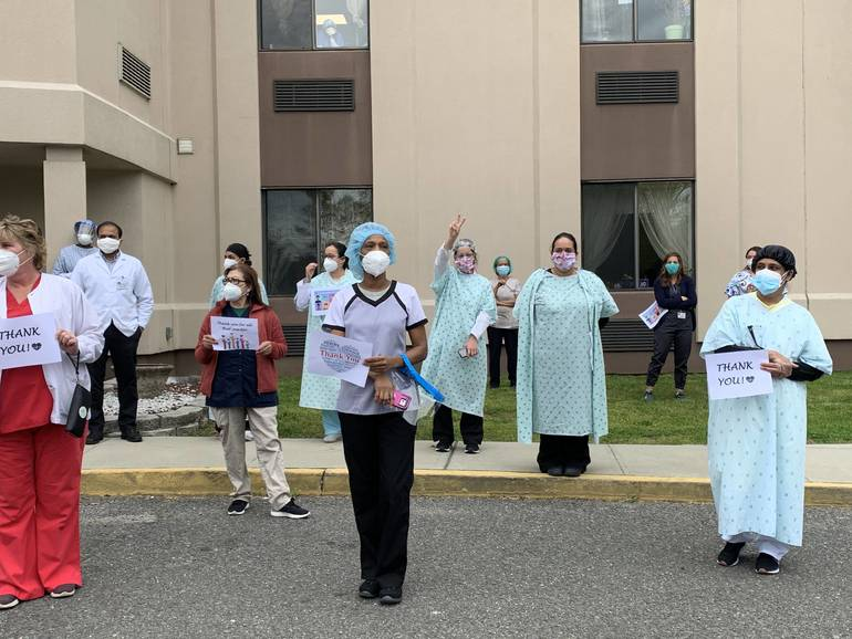 South Plainfield's First Responders Honor AristaCare Nurses on National Nurse Appreciation Day with Paradeand Pizza