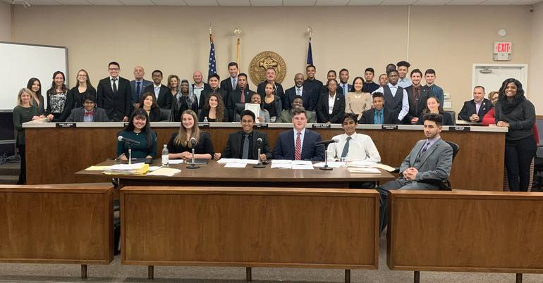 DECA Members Attend Council Meeting to Commemorate National DECA Month