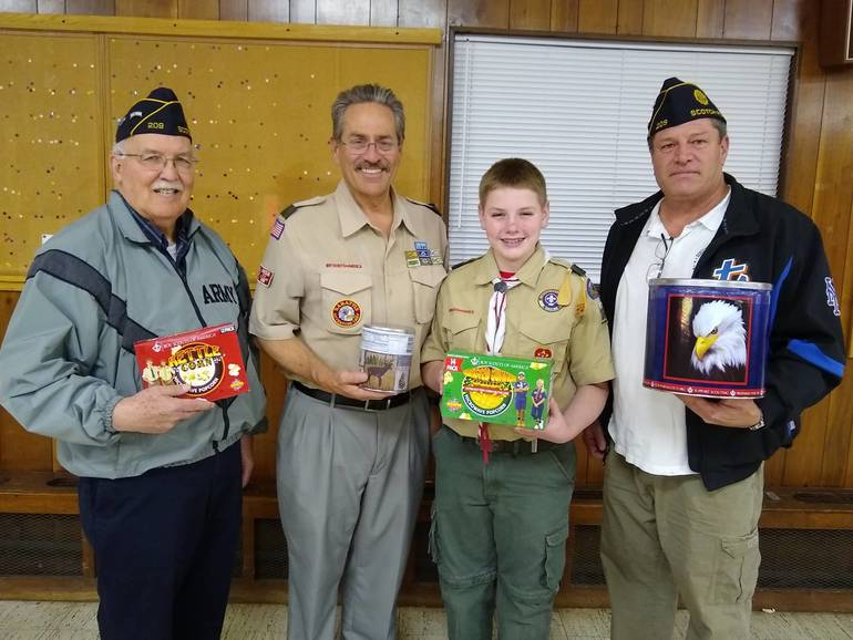 BSA Troop 104 Makes Popcorn Donation to American Legion Post 209