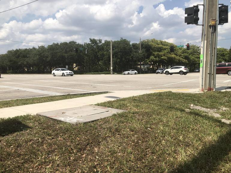 The intersection of Coral Ridge Drive and Lakeview Drive in Coral Springs where a bicyclist was hit by a car on Saturday.