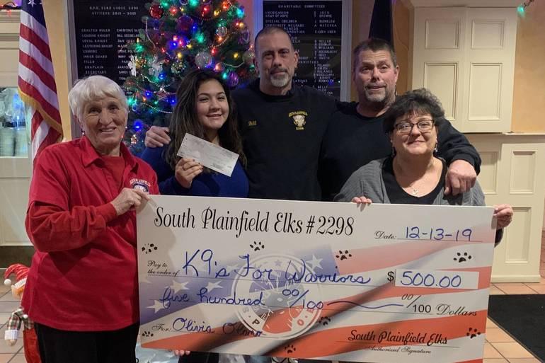 South Plainfield Elks Make Donation to High School Student Raising Money to Help Veterans