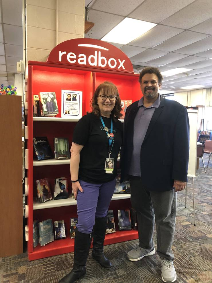 Neal Shusterman and BRMS media specialist Leigh Woznick