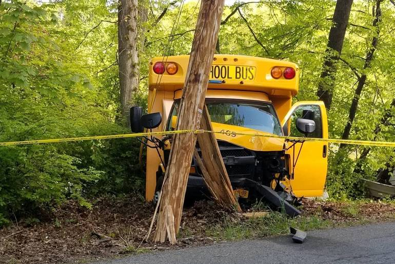 School Bus Strikes Pole in Lincolndale