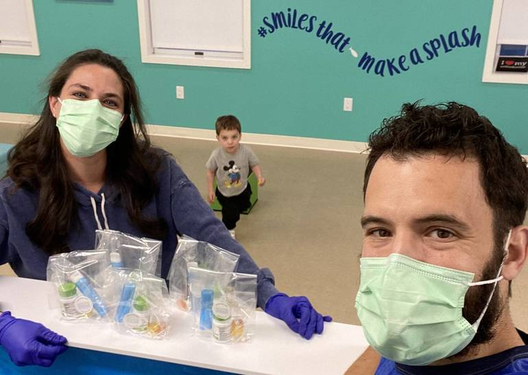 Creating oral health care bags at Oceans