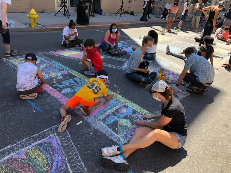 Bloomfield Residents Chalk The Street in Support of Black Lives Matter