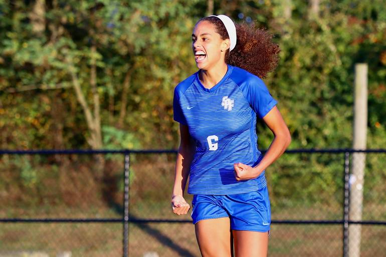 Corinne Lyght #6 of Scotch Plains-Fanwood celebrates after scoring the game-winner against Cranford