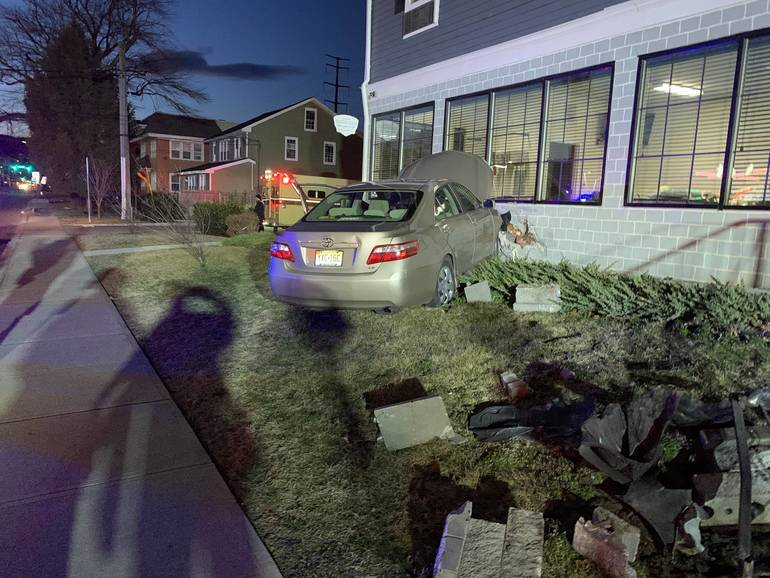 A car hit a building on Terrill Road in Fanwood on Saturday evening.