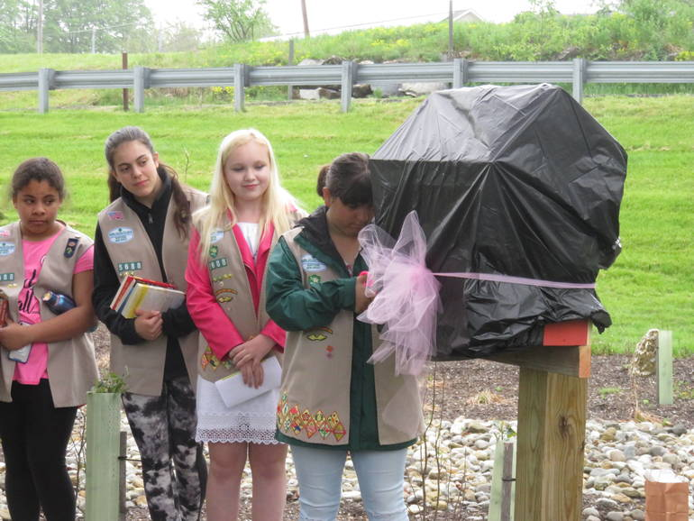 Newton Girl Scout Troop Unveils Little Free Library in Town