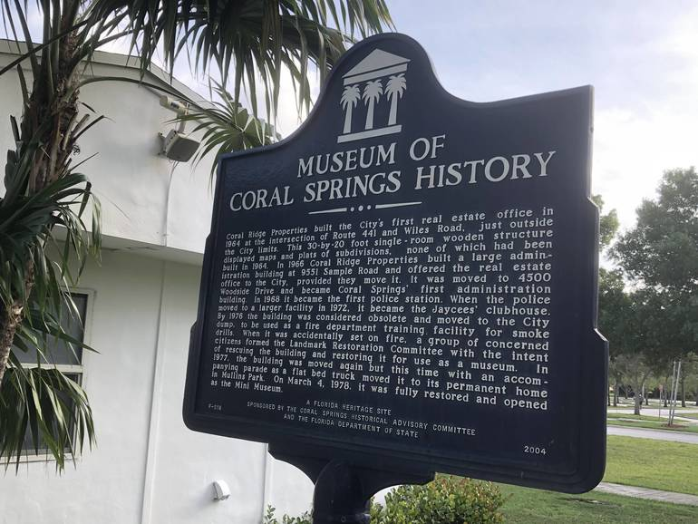 Sign outside of Museum of Coral Springs History.
