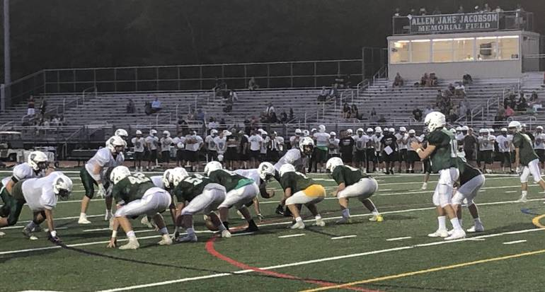 Montville faces Livingston in football scrimmage