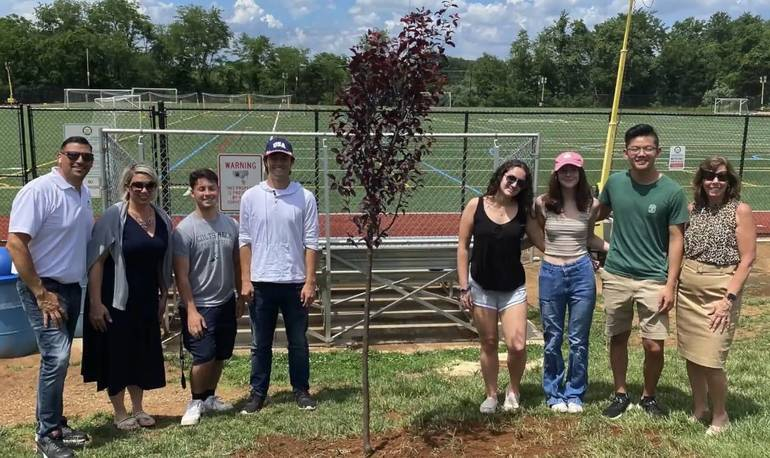 Colts Neck High School Students Plant a Shade Tree at 5 Point Park