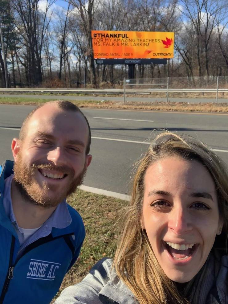 Virtual Valley View Third Grader Posts #Thankful Billboard on Route 46 to Thank His Teachers