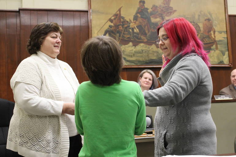 Jessica Hand is sworn in.