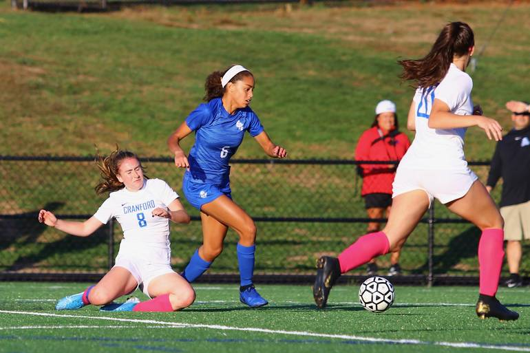 Corinne Lyght #6 of Scotch Plains-Fanwood advances down the right flank
