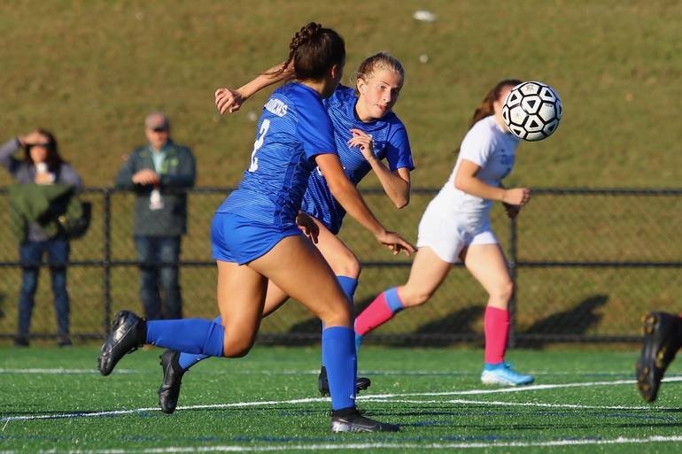Lizzie Ley #24 and Rachel Schoss #3 of Scotch Plains-Fanwood